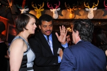 Alice Young, nominee Neil deGrasse Tyson and Jason Clark at the Documentary Programming and Reality Programming nominee reception in North Hollywood, California.