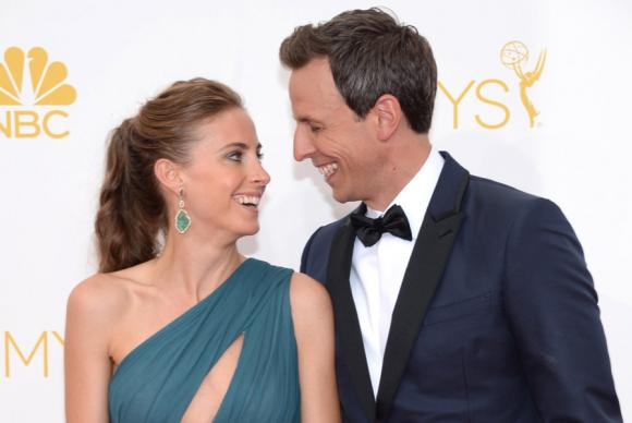 Alexi Ashe and Seth Meyers of Late Night With Seth Meyers arrive at the 66th Emmys.